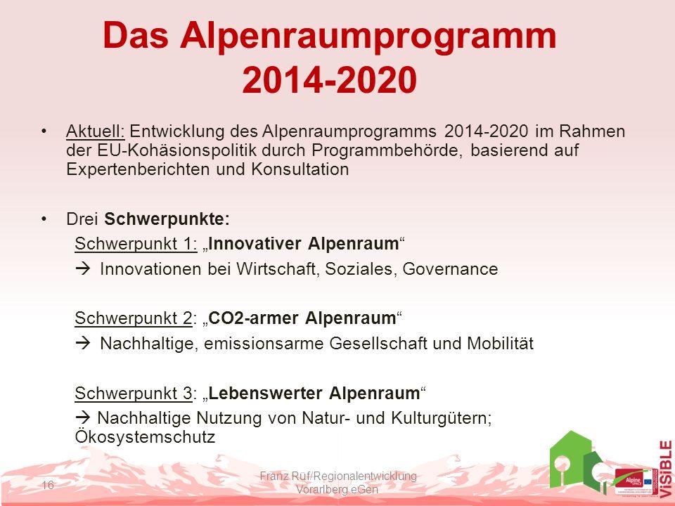 Das Alpenraumprogramm 2014-2020