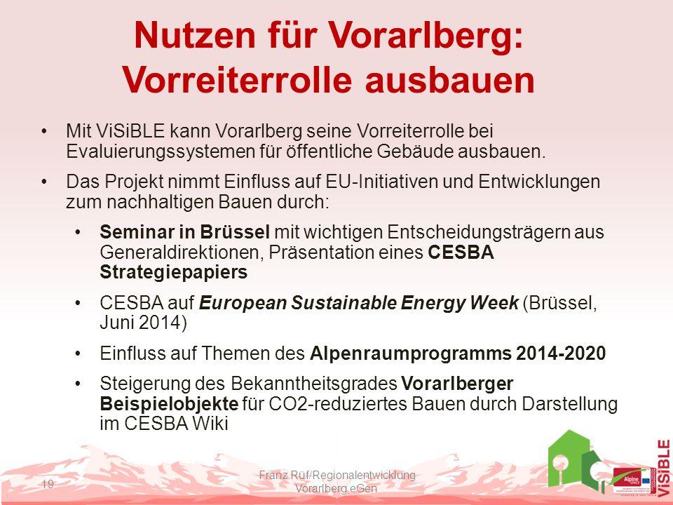 Nutzen für Vorarlberg: Vorreiterrolle ausbauen