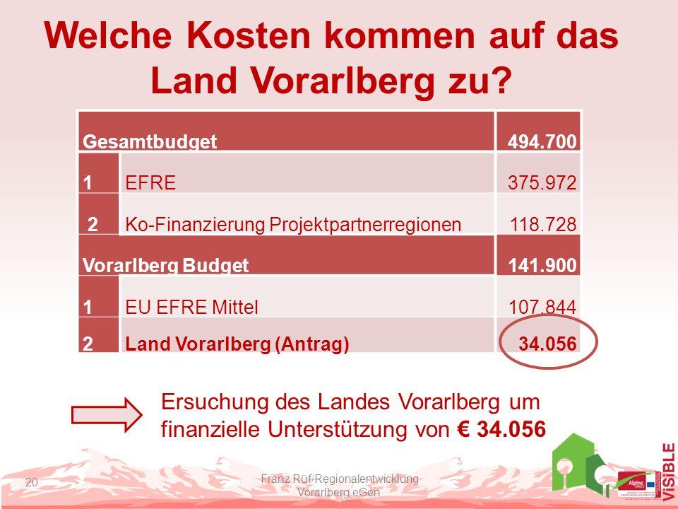 Welche Kosten kommen auf das Land Vorarlberg zu