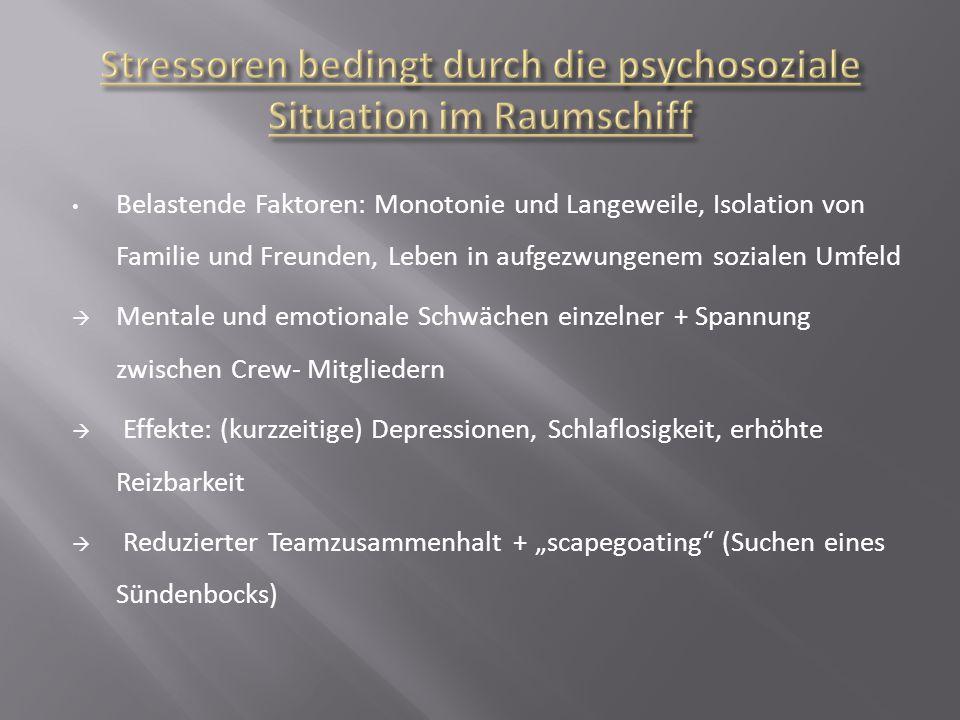 Stressoren bedingt durch die psychosoziale Situation im Raumschiff