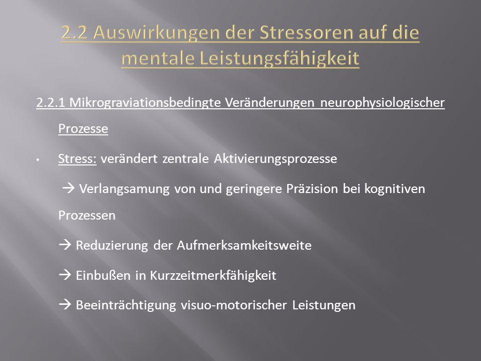 2.2 Auswirkungen der Stressoren auf die mentale Leistungsfähigkeit