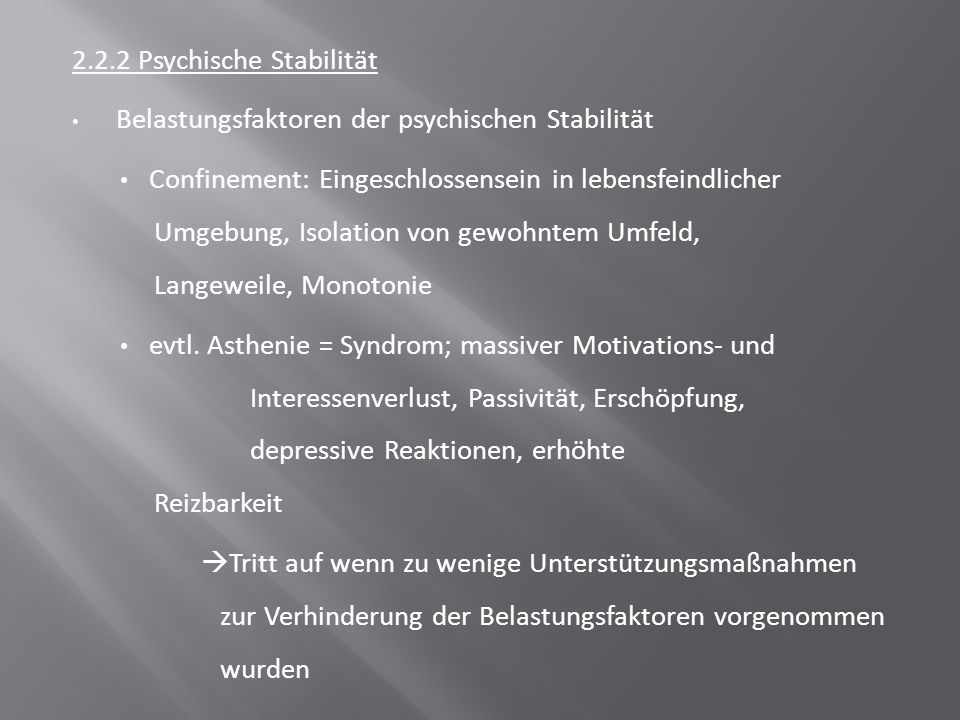 2.2.2 Psychische Stabilität