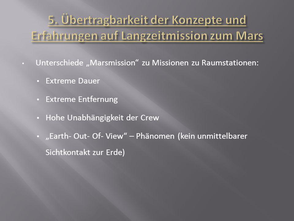 5. Übertragbarkeit der Konzepte und Erfahrungen auf Langzeitmission zum Mars