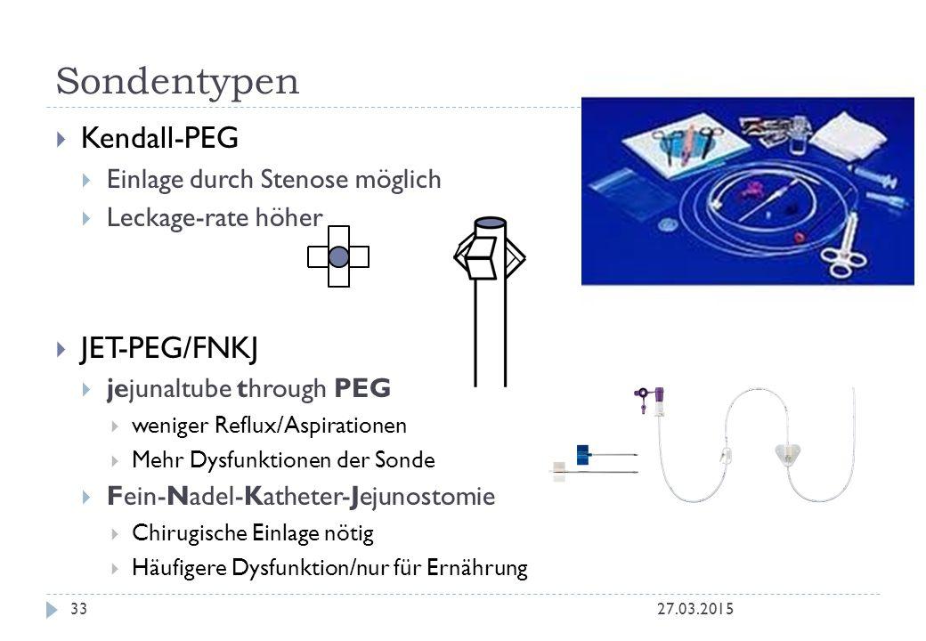 Sondentypen Kendall-PEG JET-PEG/FNKJ Einlage durch Stenose möglich