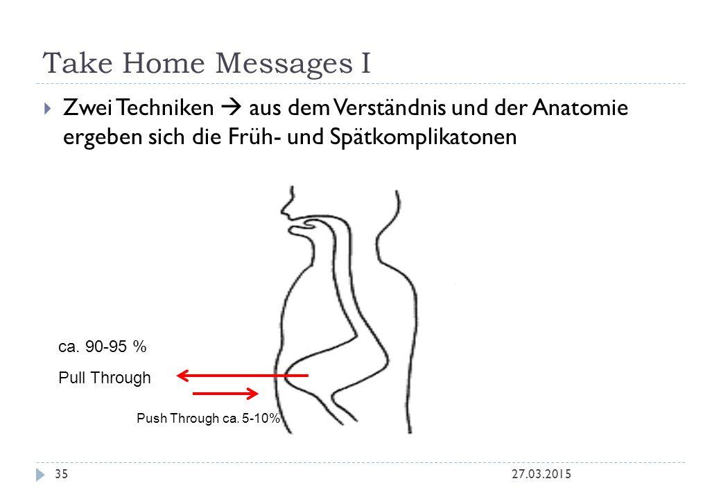 Take Home Messages I Zwei Techniken  aus dem Verständnis und der Anatomie ergeben sich die Früh- und Spätkomplikatonen.