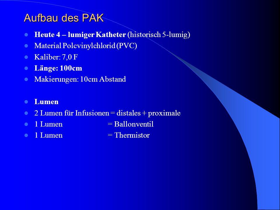 Aufbau des PAK Heute 4 – lumiger Katheter (historisch 5-lumig)