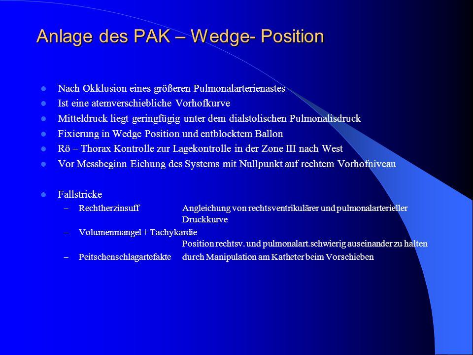 Anlage des PAK – Wedge- Position