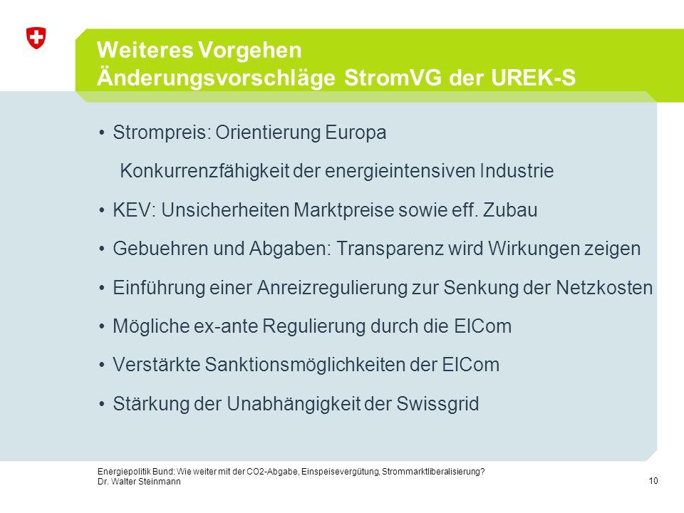 Weiteres Vorgehen Änderungsvorschläge StromVG der UREK-S