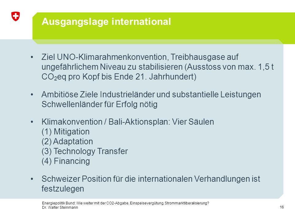 Ausgangslage international