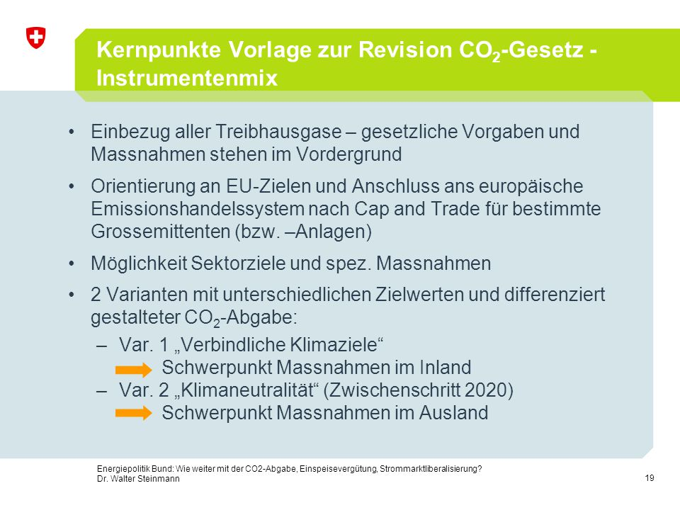 Kernpunkte Vorlage zur Revision CO2-Gesetz - Instrumentenmix