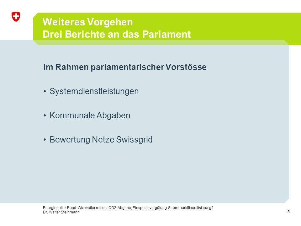 Weiteres Vorgehen Drei Berichte an das Parlament
