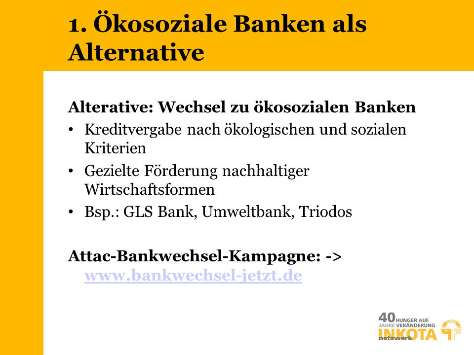 1. Ökosoziale Banken als Alternative
