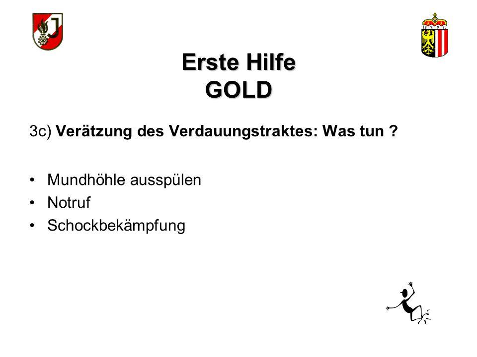 Erste Hilfe GOLD 3c) Verätzung des Verdauungstraktes: Was tun