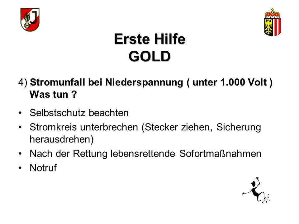 Erste Hilfe GOLD 4) Stromunfall bei Niederspannung ( unter 1.000 Volt ) Was tun Selbstschutz beachten.