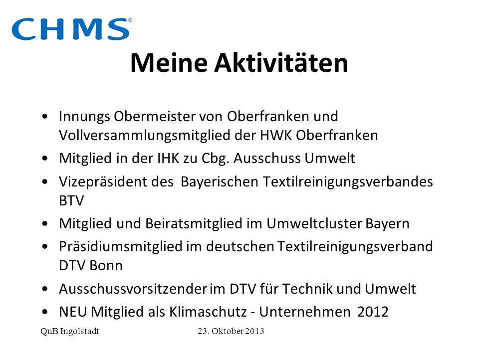 Meine Aktivitäten Innungs Obermeister von Oberfranken und Vollversammlungsmitglied der HWK Oberfranken.