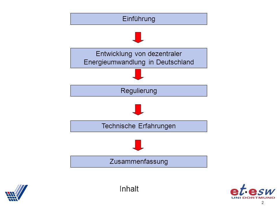 Einführung Entwicklung von dezentraler Energieumwandlung in Deutschland. Regulierung. Technische Erfahrungen.