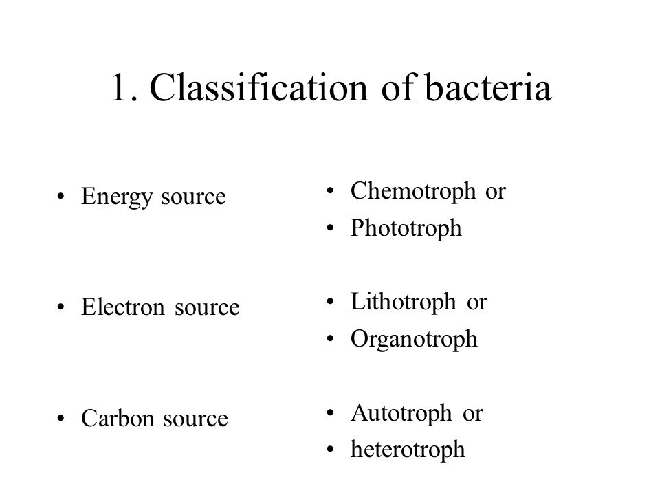 1. Classification of bacteria
