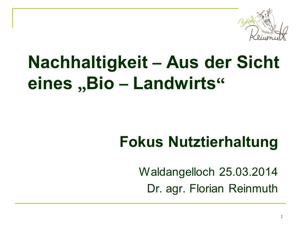 """Nachhaltigkeit – Aus der Sicht eines """"Bio – Landwirts"""