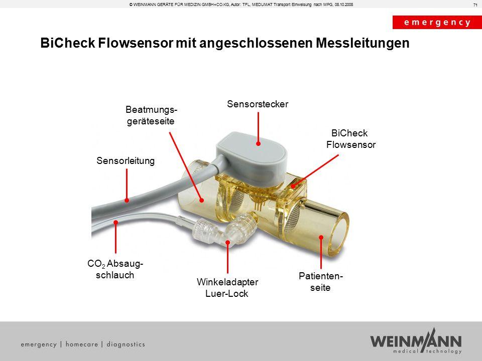 BiCheck Flowsensor mit angeschlossenen Messleitungen