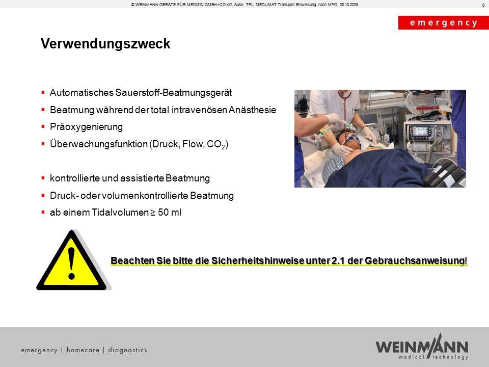 Verwendungszweck Automatisches Sauerstoff-Beatmungsgerät