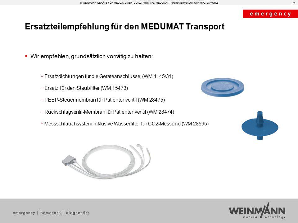 Ersatzteilempfehlung für den MEDUMAT Transport