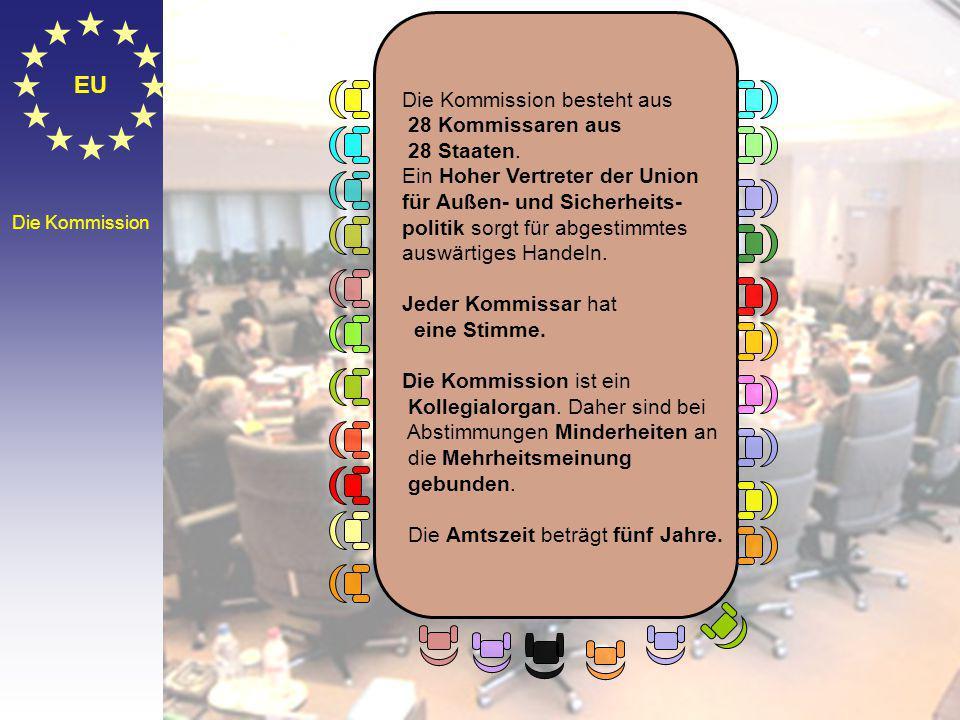 EU Die Kommission besteht aus 28 Kommissaren aus 28 Staaten.
