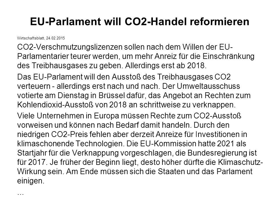 EU-Parlament will CO2-Handel reformieren