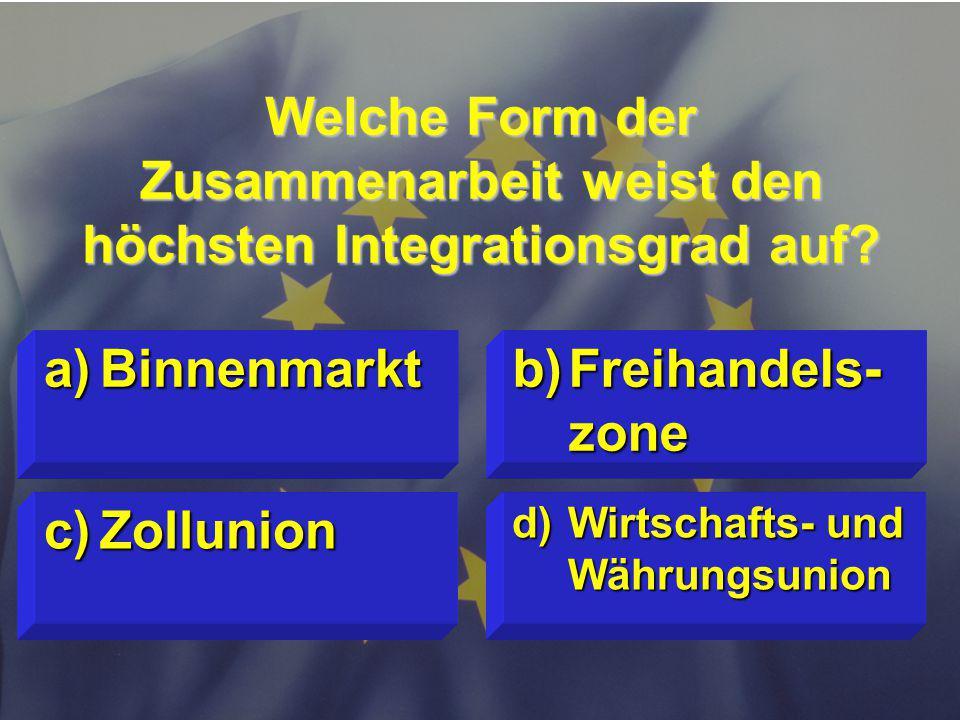 Welche Form der Zusammenarbeit weist den höchsten Integrationsgrad auf