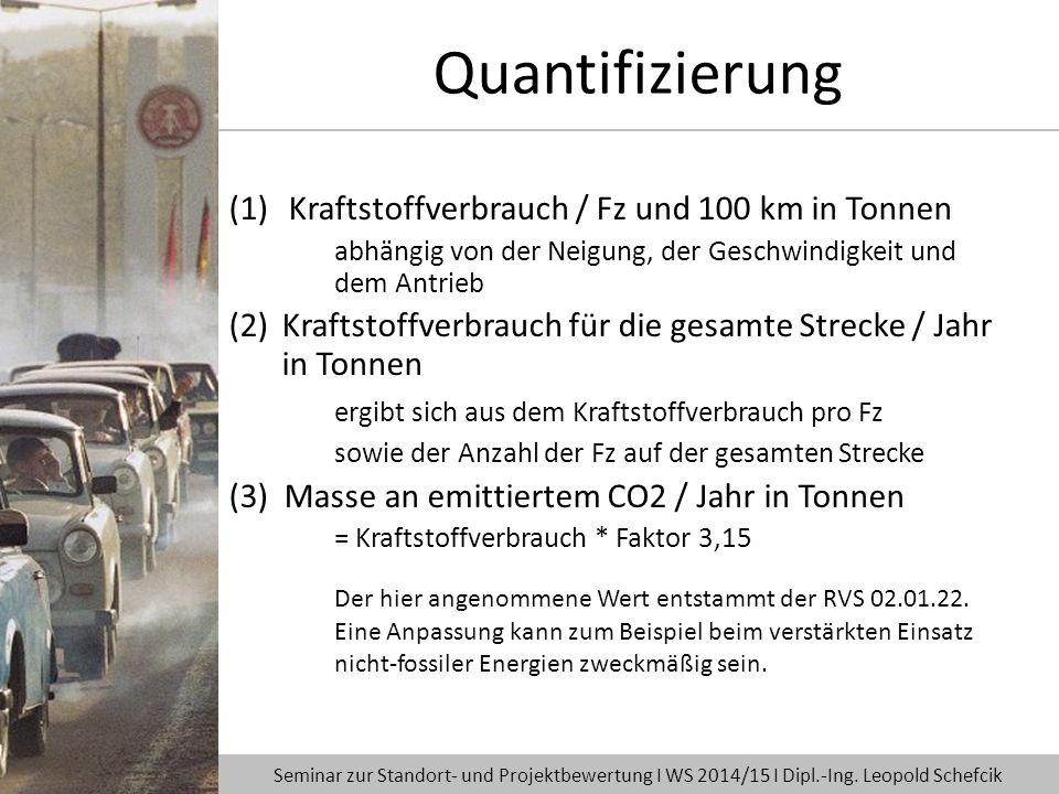 Quantifizierung Kraftstoffverbrauch / Fz und 100 km in Tonnen