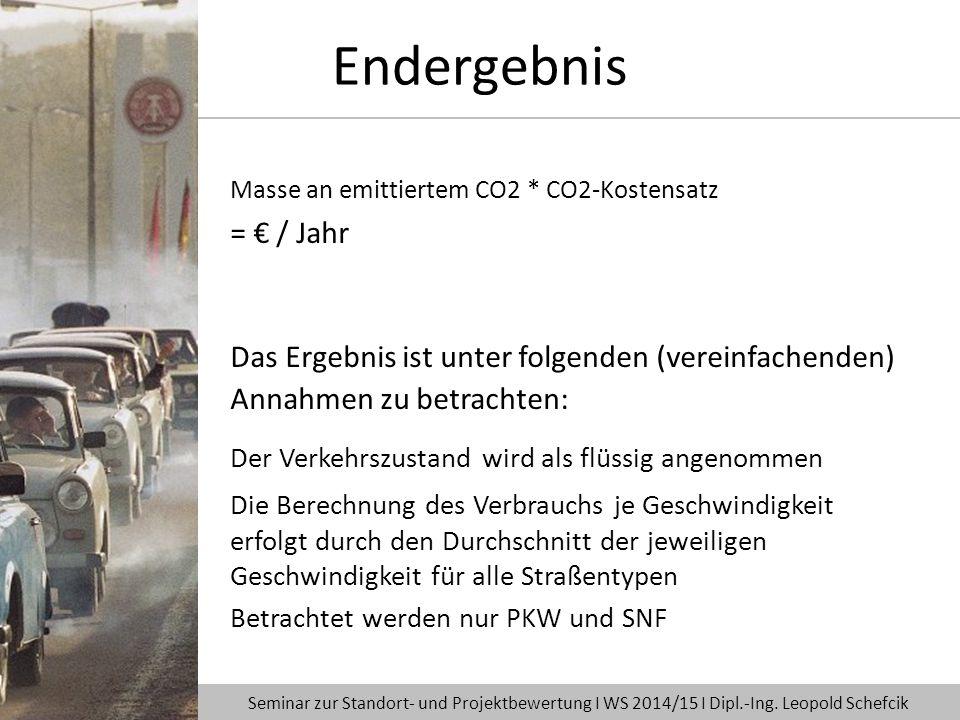 Endergebnis Masse an emittiertem CO2 * CO2-Kostensatz. = € / Jahr. Das Ergebnis ist unter folgenden (vereinfachenden) Annahmen zu betrachten: