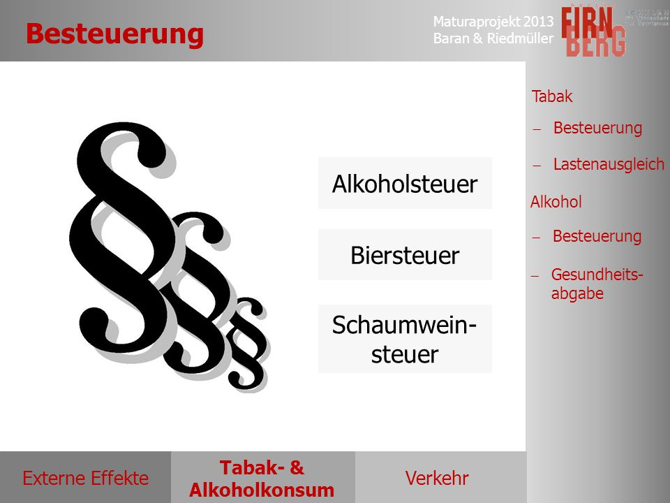 Besteuerung Alkoholsteuer Biersteuer Schaumwein-steuer
