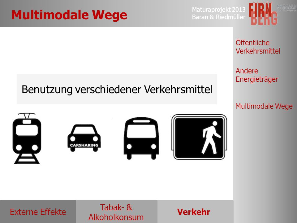 Benutzung verschiedener Verkehrsmittel