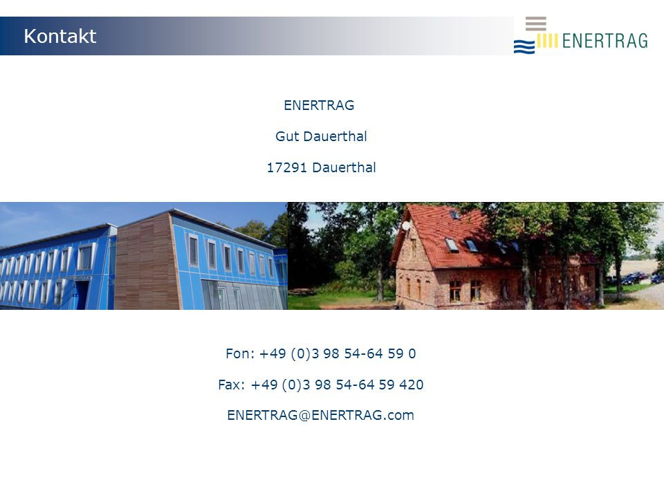 Kontakt ENERTRAG Gut Dauerthal 17291 Dauerthal