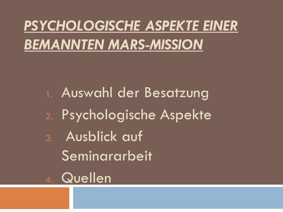 Psychologische Aspekte einer bemannten Mars-Mission