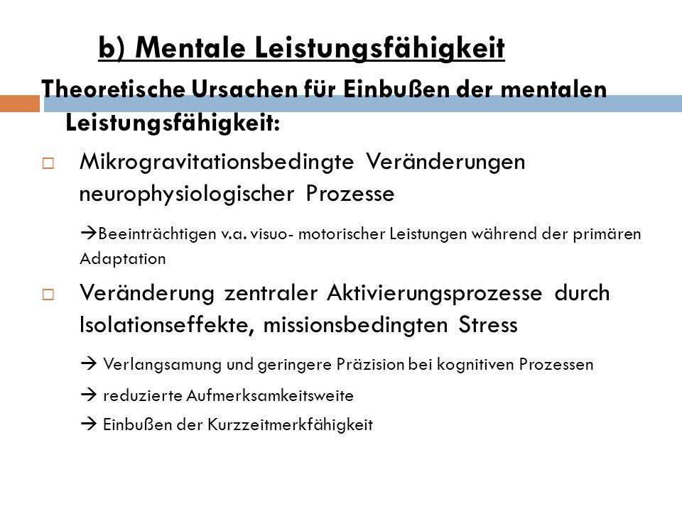 b) Mentale Leistungsfähigkeit