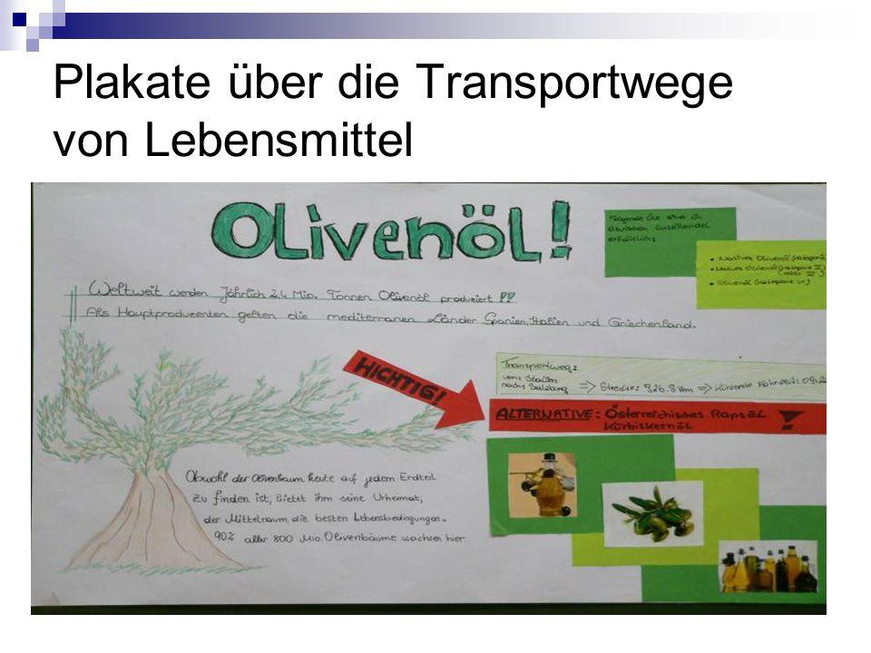 Plakate über die Transportwege von Lebensmittel