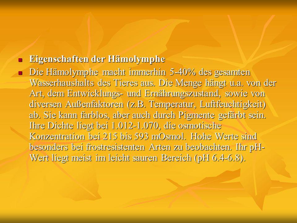 Eigenschaften der Hämolymphe
