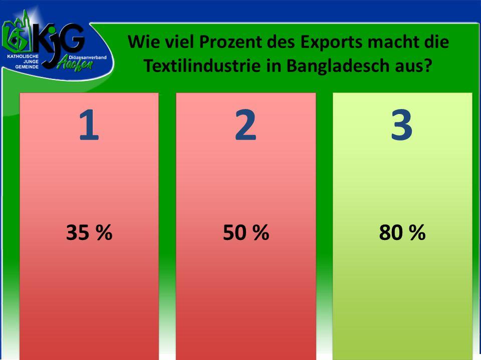 Wie viel Prozent des Exports macht die Textilindustrie in Bangladesch aus