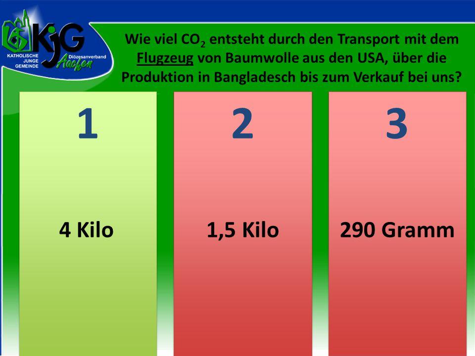Wie viel CO2 entsteht durch den Transport mit dem Flugzeug von Baumwolle aus den USA, über die Produktion in Bangladesch bis zum Verkauf bei uns