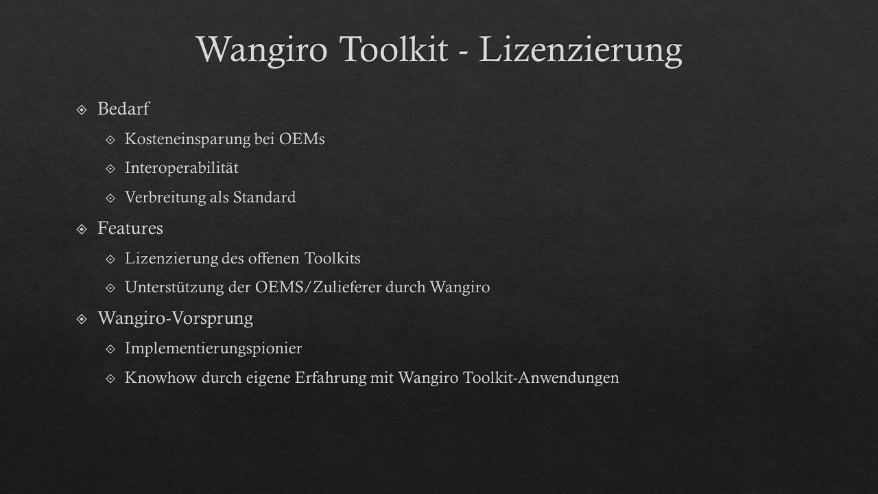 Wangiro Toolkit - Lizenzierung