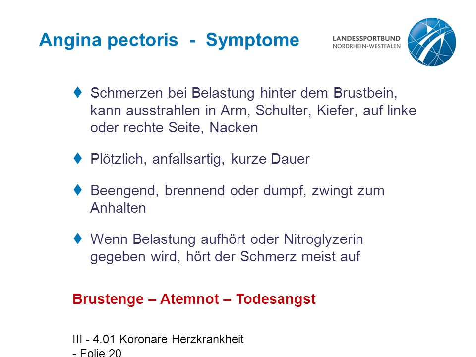 Angina pectoris - Symptome