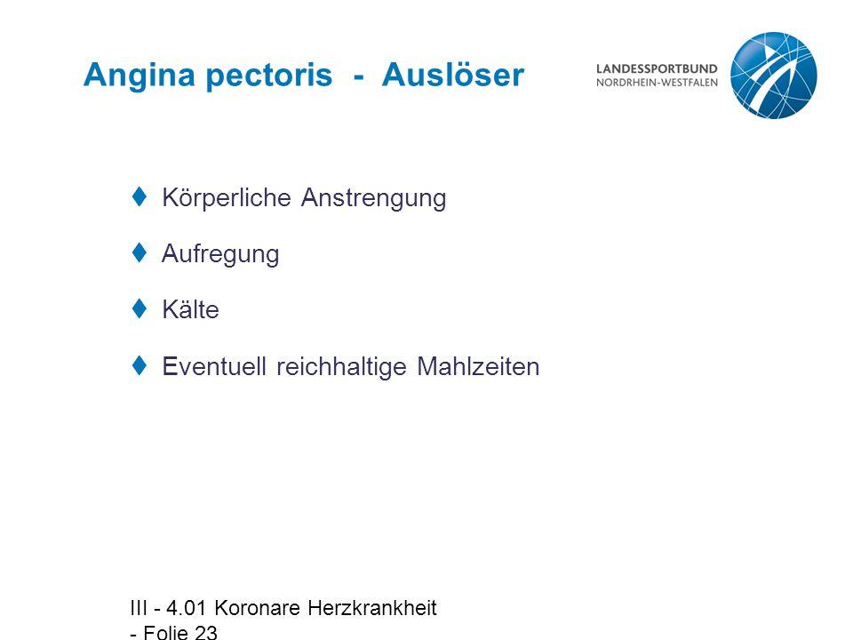 Angina pectoris - Auslöser