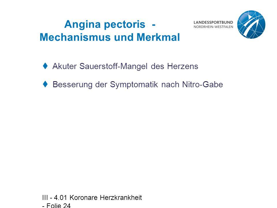 Angina pectoris - Mechanismus und Merkmal