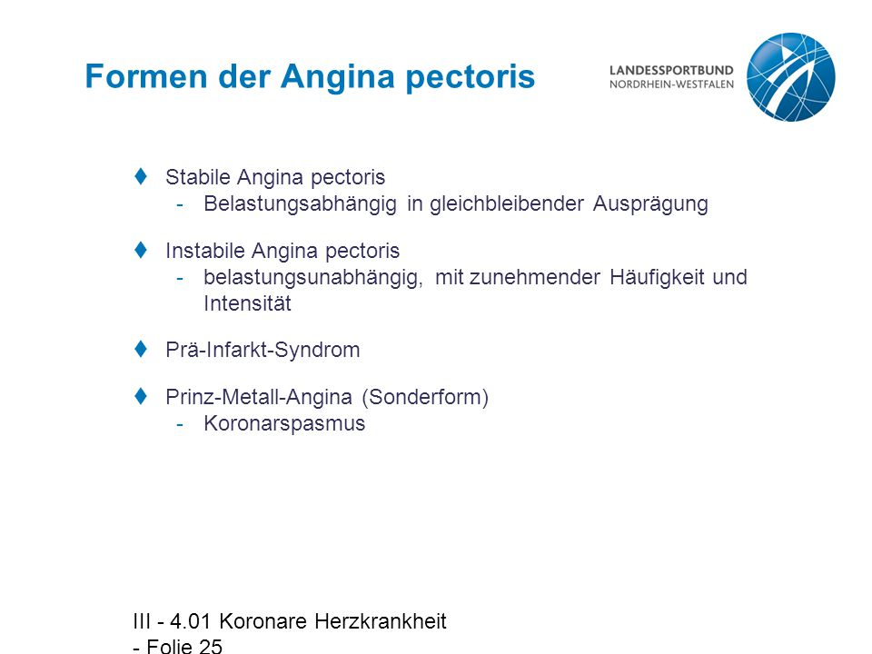 Formen der Angina pectoris