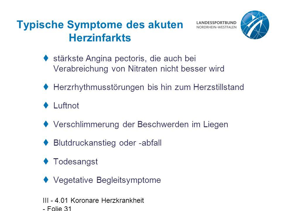 Typische Symptome des akuten Herzinfarkts