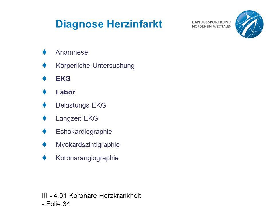 Diagnose Herzinfarkt Anamnese Körperliche Untersuchung EKG Labor