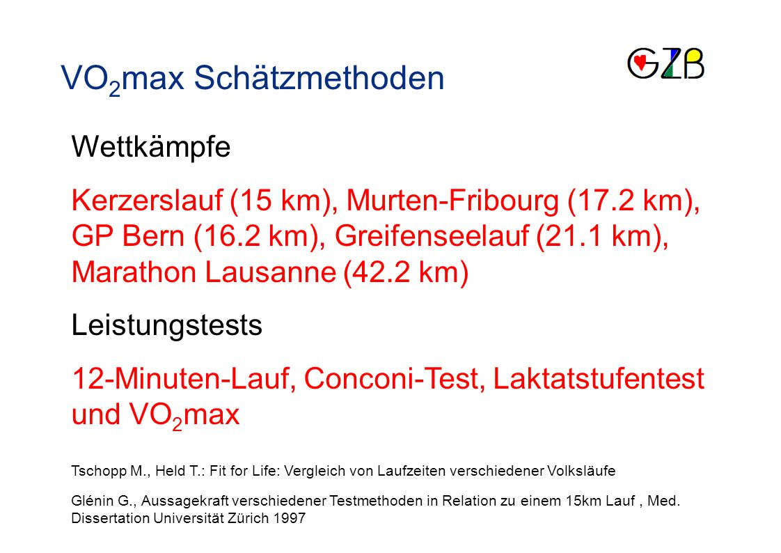 VO2max Schätzmethoden Wettkämpfe