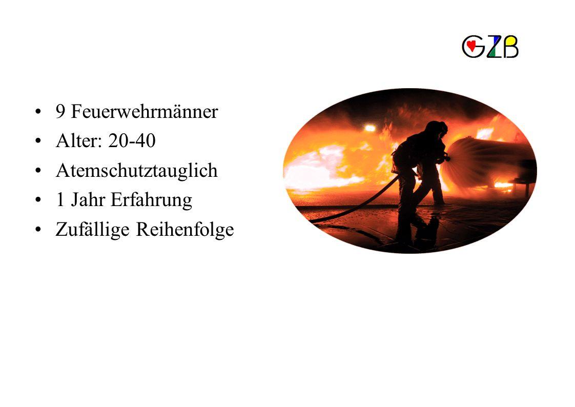 Methodik 9 Feuerwehrmänner Alter: 20-40 Atemschutztauglich