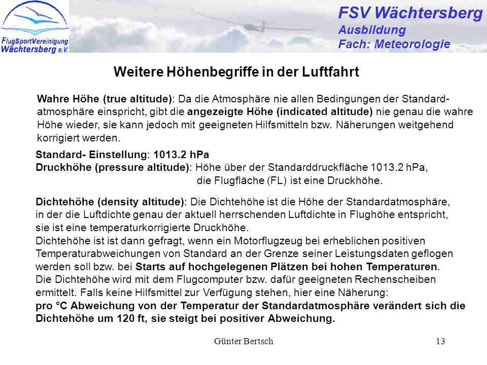 FSV Wächtersberg Weitere Höhenbegriffe in der Luftfahrt Ausbildung