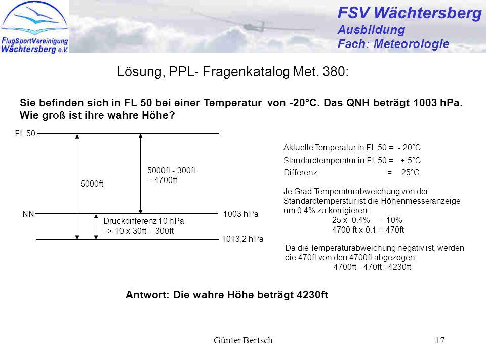 FSV Wächtersberg Lösung, PPL- Fragenkatalog Met. 380: Ausbildung
